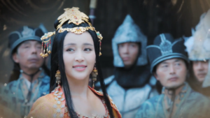 Yao Tian in General and I opening credits, with soldiers in background.